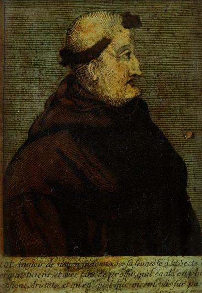 Gravure encadrée figurant un moine de profil...