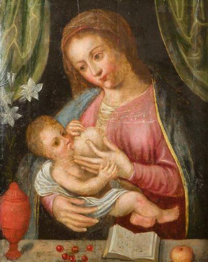 École FLAMANDE du XVIIe siècle Vierge à l'Enfant...