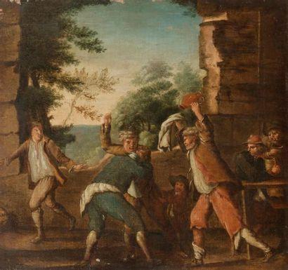 École FLAMANDE vers 1800 La rixe Toile 47x43cm...