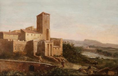École FRANÇAISE vers 1780 Abbaye dans un...