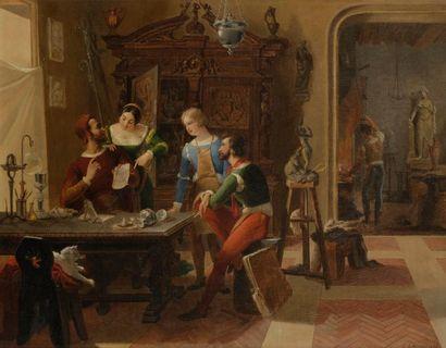 École FRANÇAISE, 1853, LECOMTE*** Dans l'atelier...
