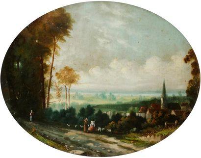 École du XIXe siècle Paysages animés Paire...