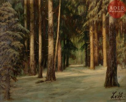 NN. LVOFF (XXe siècle) Forêt Huile sur toile....