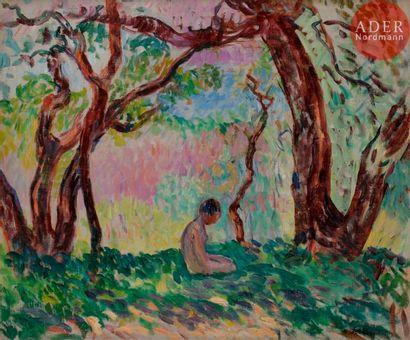 Henri LEBASQUE (1865-1937) Enfant assis sous...