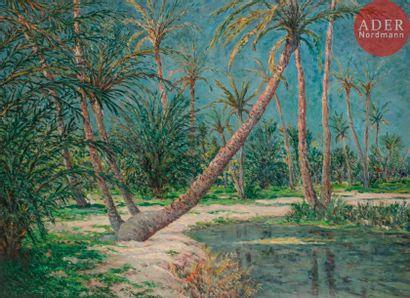 Maxime MAUFRA (1861-1918) Palmeraie saharienne,...
