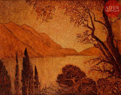 José MINGRET (1880-1969) Lac de Côme, vers...