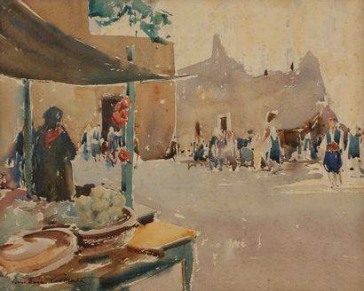 Paul-Emile LECOMTE (1877-1950) Marché oriental...