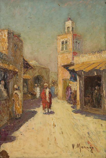 Vincent MANAGO (1880-1936) Rue animée en...