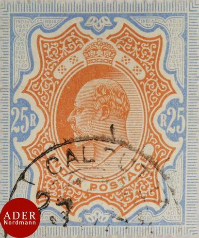 INDE Superbe n°73, 25 roupies bleu et orange...