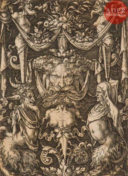 Heinrich Aldegrever (1502-c. 1560) Ornements avec feuillages et grotesques; Dessin...