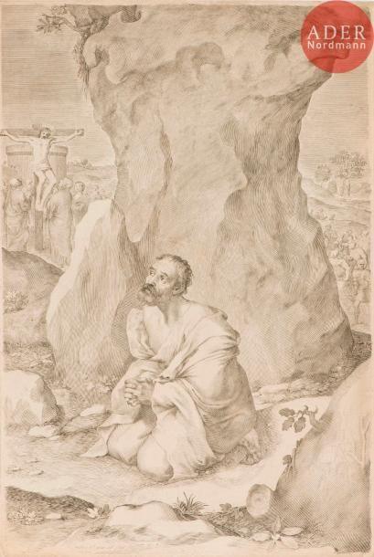 Claude Mellan (1598-1688) Les Remords de saint Pierre. 1687. Burin. 305x448. Préaud...