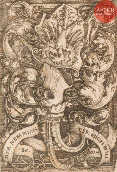 Hans Sebald Beham (1500-1550) Les Armoiries à l'aigle. 1543. Burin. 45x70. Bartsch...