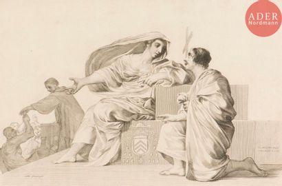 Claude Mellan (1598-1688) Allégorie sur la Charité (?) Burin. 440x290. Préaud...