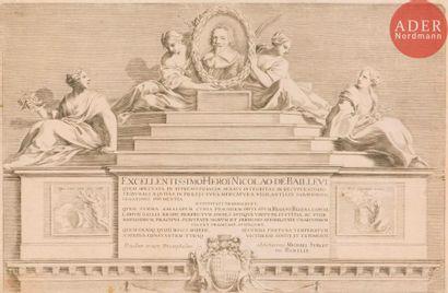 Claude Mellan (1598-1688) Partie supérieure de la thèse de logique et de morale...