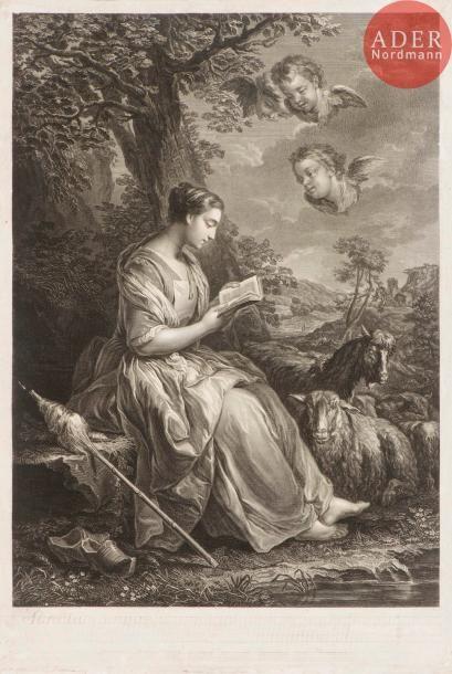 Jean-Joseph Baléchou (1716-1764) Sainte Geneviève. Gravé d'après Van Loo. 373x531....
