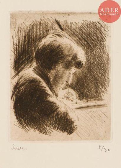 Maximilien Luce (1858-1941) Graveur au travail;...