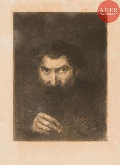 Eugène Viala (1859-1913) Autoportrait. Eau-forte....