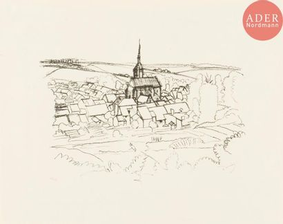 André Derain (1880-1954) Paysage à l'église,...