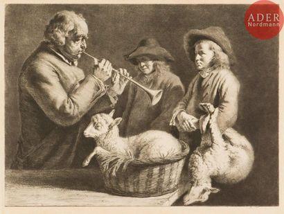 Jean-Jacques de Boissieu (1736-1810) Le Joueur de hautbois. 1782. Eau-forte, pointe...