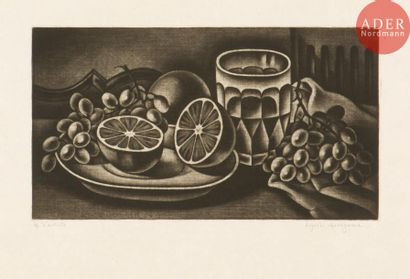 Kiyoshi Hasegawa (1891-1980) Oranges et raisins....