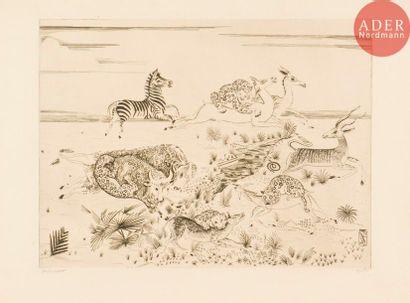 Joseph Hecht (1891-1951) Panthères à la chasse....