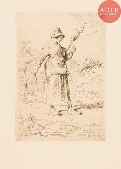 Jean-François Millet (1814-1875) La Fileuse...
