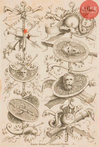 René Boyvin (1525-c. 1598 ou 1625) Trophées d'armes. 1575. Eau-forte (copies en...