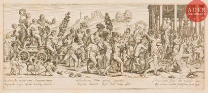 Johann Theodore de Bry (1561-1623) Triomphe de Bacchus. Burin d'après la gravure...