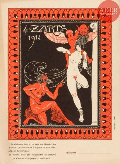 Invitations pour le bal des 4 Z'Arts. 1911,...