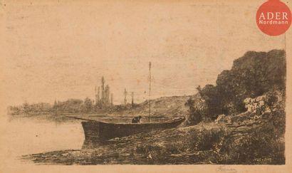 Adolphe Appian (1818-1898) Barque sur un...