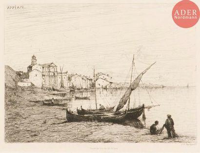 Adolphe Appian (1818-1898) Ville au bord...