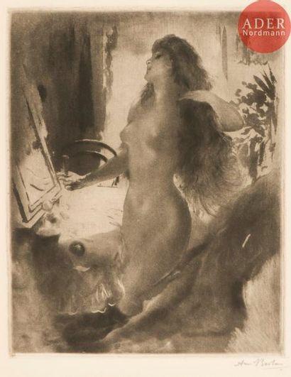Armand Berton (1854-1927) Femme à sa toilette....