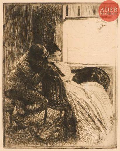Albert Besnard (1849-1934) Le Flirt. (La...