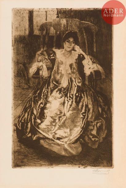Albert Besnard (1849-1934) La Robe de soie....