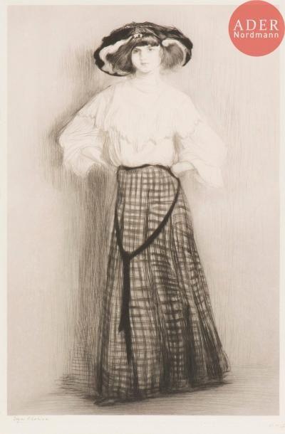 Edgar Chahine (1874-1947) Germaine en pied....