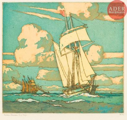 Nelson Dawson (1859-1941) Voiliers. Vers...