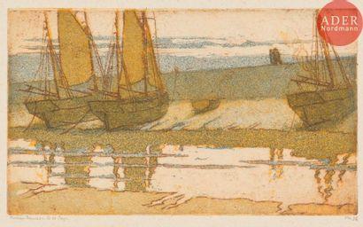 Nelson Dawson (1859-1941) Barques à sec....