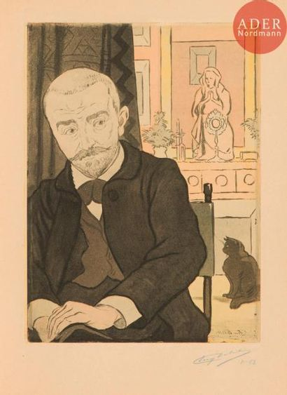 Eugène Delâtre (1864-1938) Portrait de Huÿsmans....