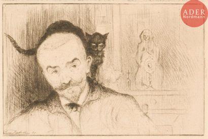 Eugène Delâtre (1864-1938) Huÿsmans au chat...