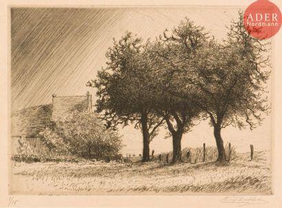 Eugène Delâtre (1864-1938) Paysage aux grands...