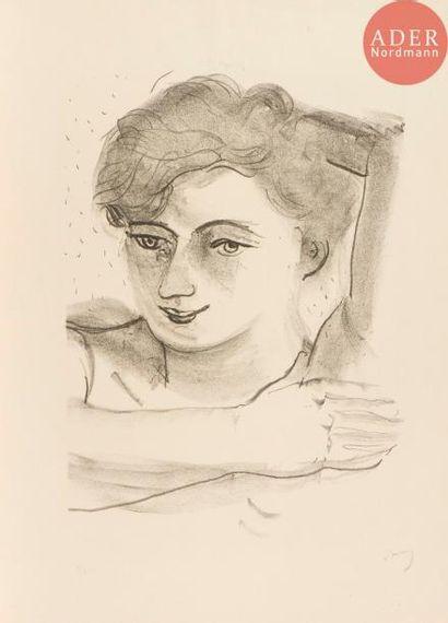 André Derain (1880-1954) Tête de femme légèrement...