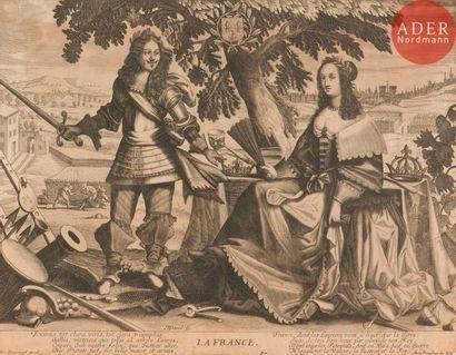 Hierosme ou Jérôme David (actif au XVIIe s.) La France (Louis XIII et Anne d'Autriche)....