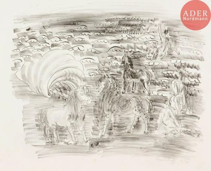 Raoul Dufy (1877-1953) Petits chevaux, baigneuses...