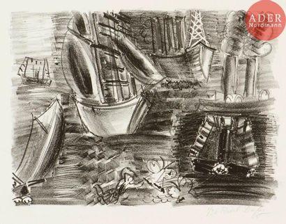 Raoul Dufy (1877-1953) Voiliers et papillons....