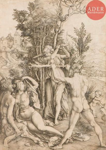 Albrecht Dürer (1471-1528) La Jalousie, ou Hercule. Vers 1498. Burin. 220x313....