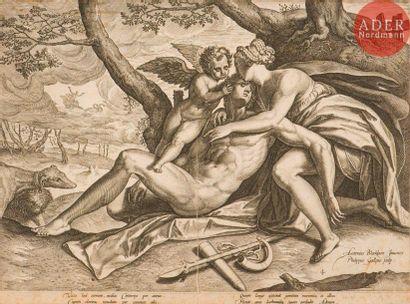Philip Galle (1537-1612) Vénus pleurant la mort d'Adonis. (Pl. 4 de la suite L'Histoire...