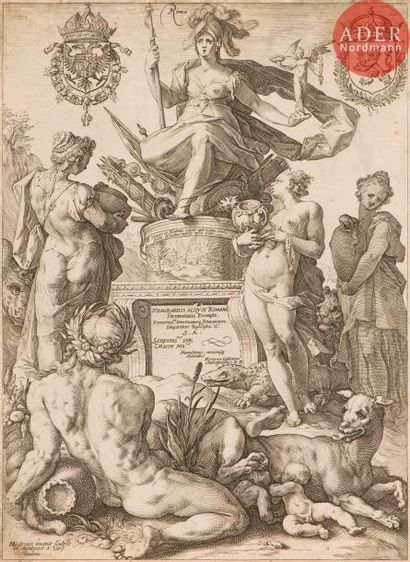 Hendrick Goltzius (1588-1617) Allégorie de Rome. 1586. Burin. 236x325. Bartsch...