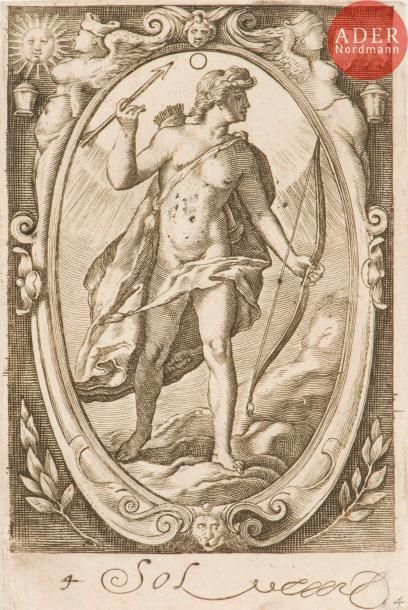 Hendrick Goltzius (1588-1617) (d'après) Mars; Sol; Vénus. (3 pl. de la suite des...
