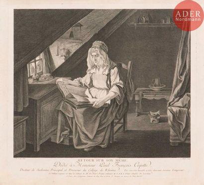 Jean-Baptiste Greuze (1725-1805) (d'après) Retour sur soy même. Gravé par L. Binet....