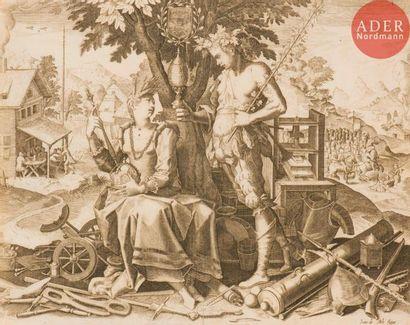 Jan ou Johannes Sadeler I (1550-1600) Le Jugement dernier. (Pl. de la suite de 12...